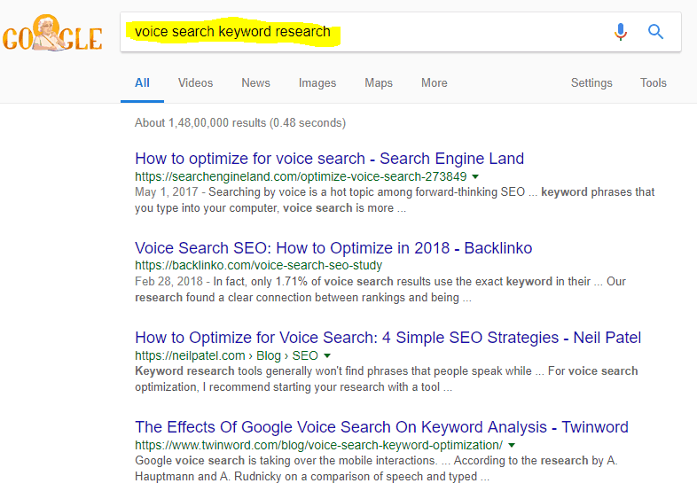 voice search keyword research
