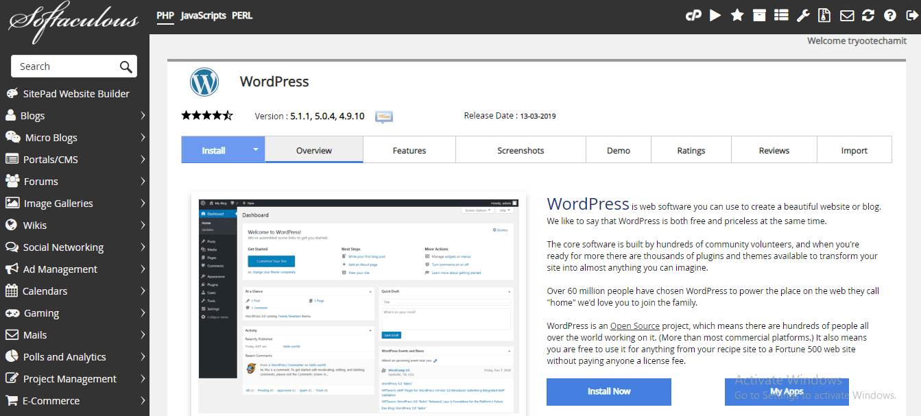 install wordpress for blog