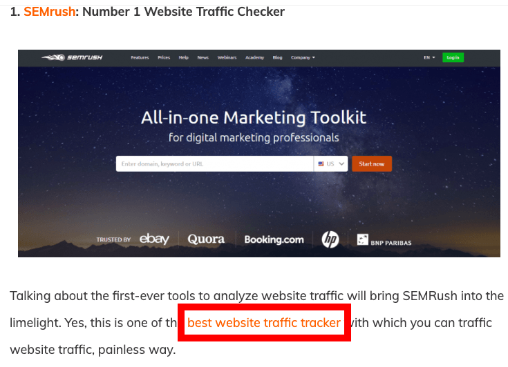 Anchor text in backlinks