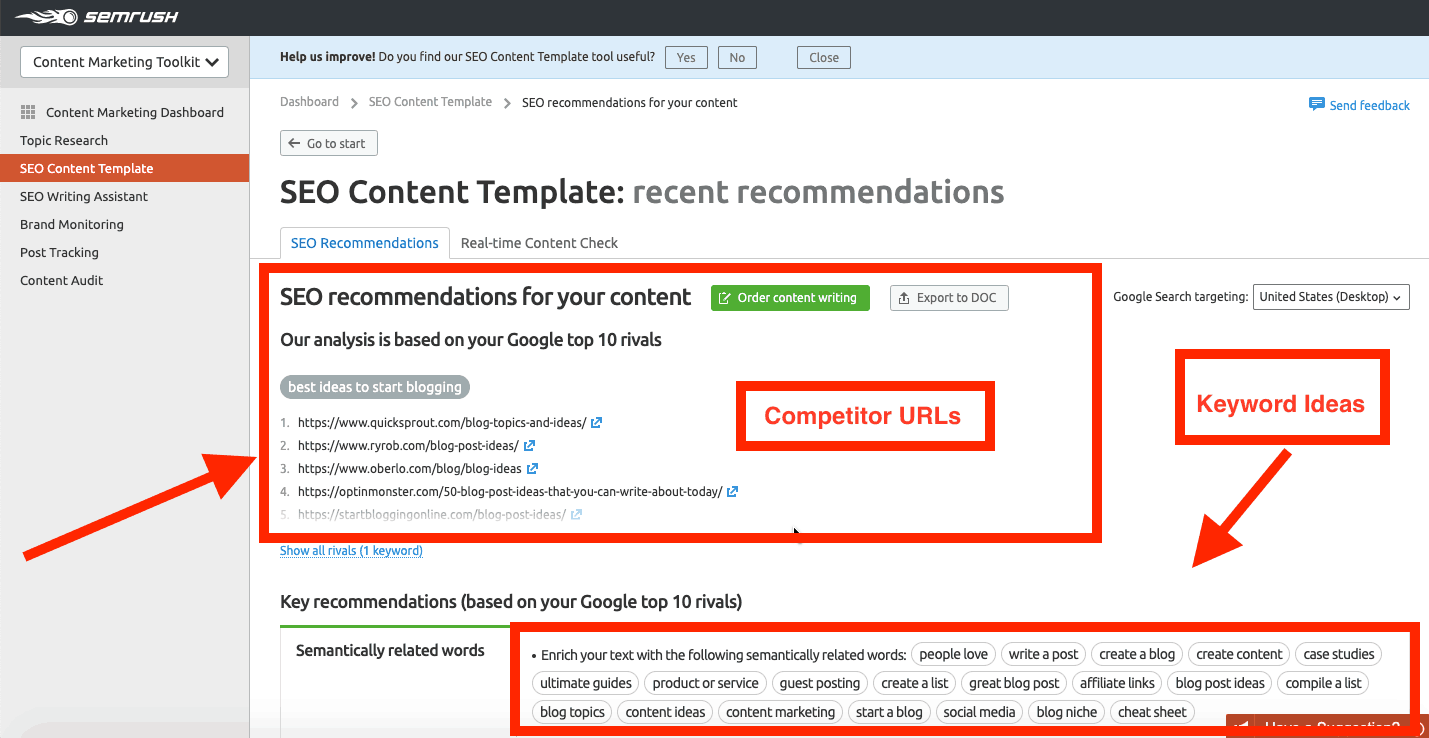 Semrush seo content template toolkit results