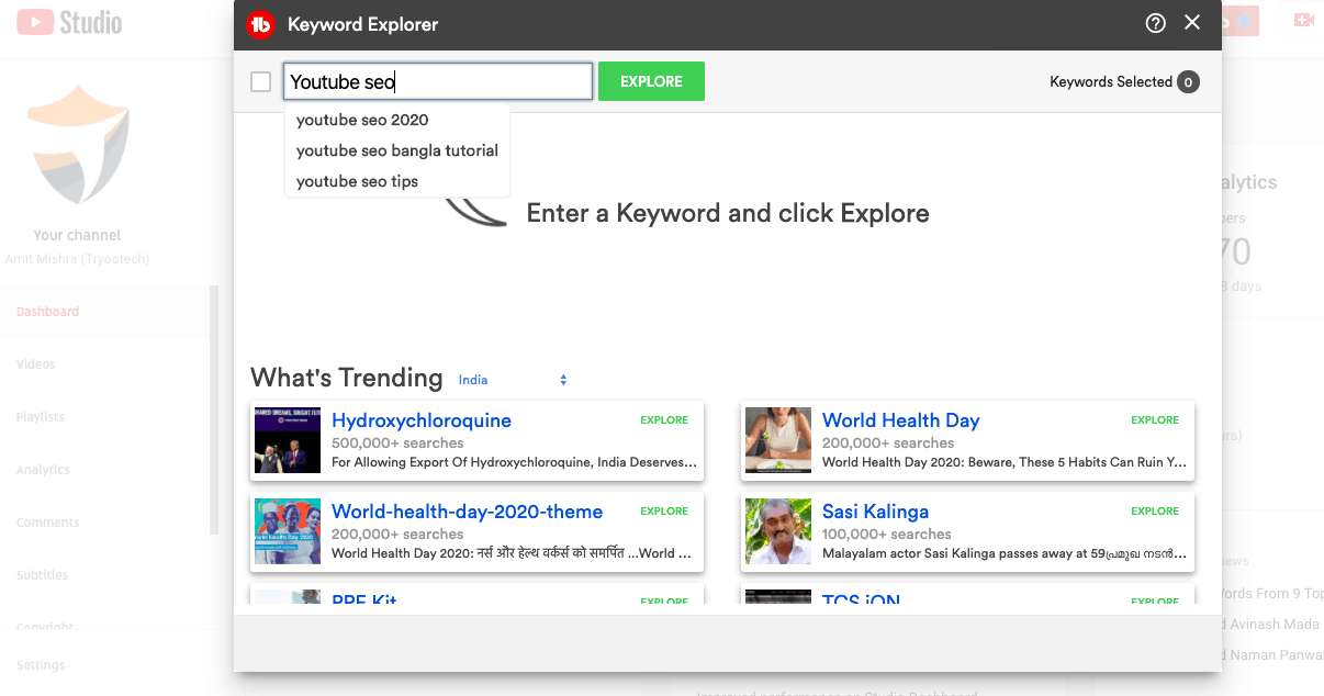 Tubebuddy Keyword Explorer