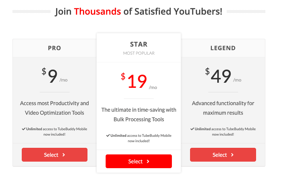 Tubebuddy pricing