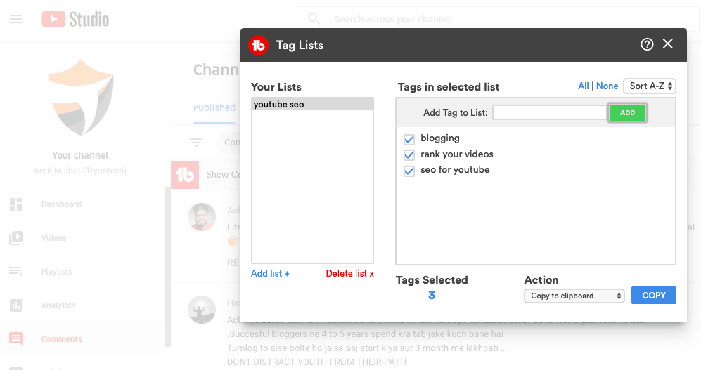 Tubebuddy tag lists