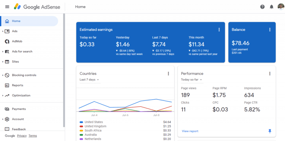 adsense screenshot of earning on event blogging