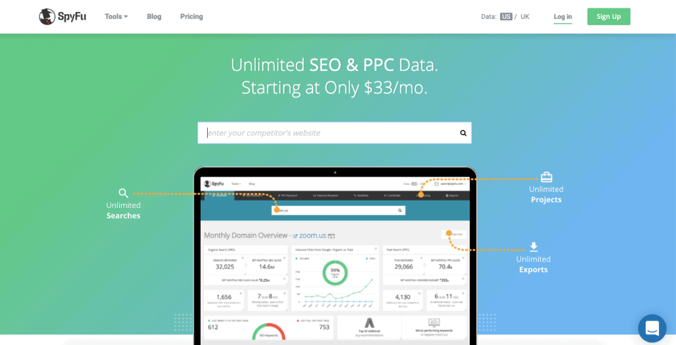 Spyfu competitor ppc keyword and seo research tool